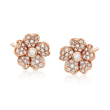 "Mikimoto ""Cherry Blossom"" .36 ct. t.w. Diamond Floral Earrings in 18kt Rose Gold , , default"