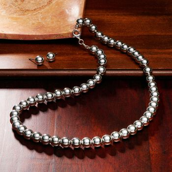 8mm Sterling Silver Bead Necklace with Free Stud Earrings. 18""
