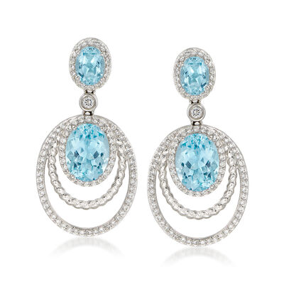 13.15 ct. t.w. Blue and White Topaz Drop Earrings in Sterling Silver, , default