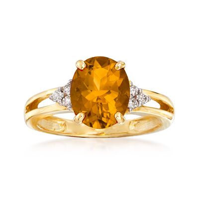 2.65 Carat Citrine and Diamond Ring in 14kt Yellow Gold