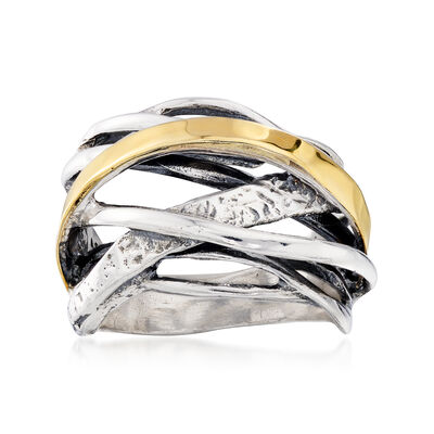 Sterling Silver and 14kt Yellow Gold Highway Ring, , default
