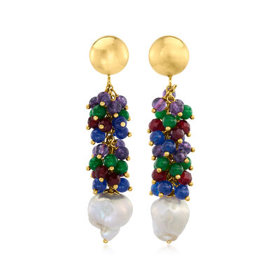 Italian 12-14mm Cultured Pearl and 8.00 ct. t.w. Multi-Gem Drop Earrings in 18kt Gold Over Sterling