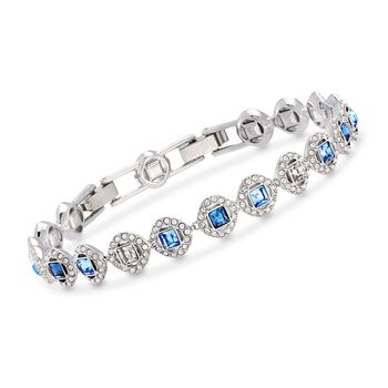 """Swarovski Crystal """"Angelic"""" Blue and Clear Square Crystal Bracelet in Silvertone. 6.5"""", , default"""