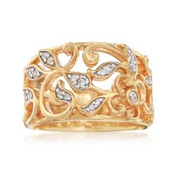 "Belle Etoile ""Empress"" .11 ct. t.w. CZ Ring in 24kt Gold Over Sterling, , default"
