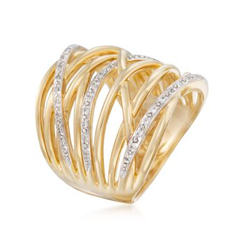 .30 ct. t.w. CZ Crisscross Ring in 18kt Gold Over Sterling. Size 5, , default