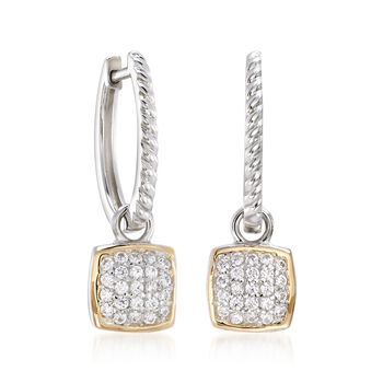 ".69 ct. t.w. CZ Square Charm Hoop Earrings in Sterling Silver and 14kt Gold. 1 1/8"", , default"