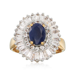 1.50 Carat Sapphire and 2.00 ct. t.w. White Topaz Ring in 18kt Gold Over Sterling, , default