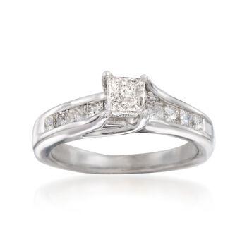 C. 2010 Vintage .90 ct. t.w. Princess-Cut Diamond Engagement Ring in 14kt White Gold. Size 5.5, , default