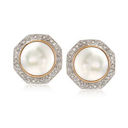 C. 1980 Vintage 16.5mm Cultured Mabe Pearl and 1.00 ct. t.w. Diamond Earrings in 14kt Yellow Gold , , default