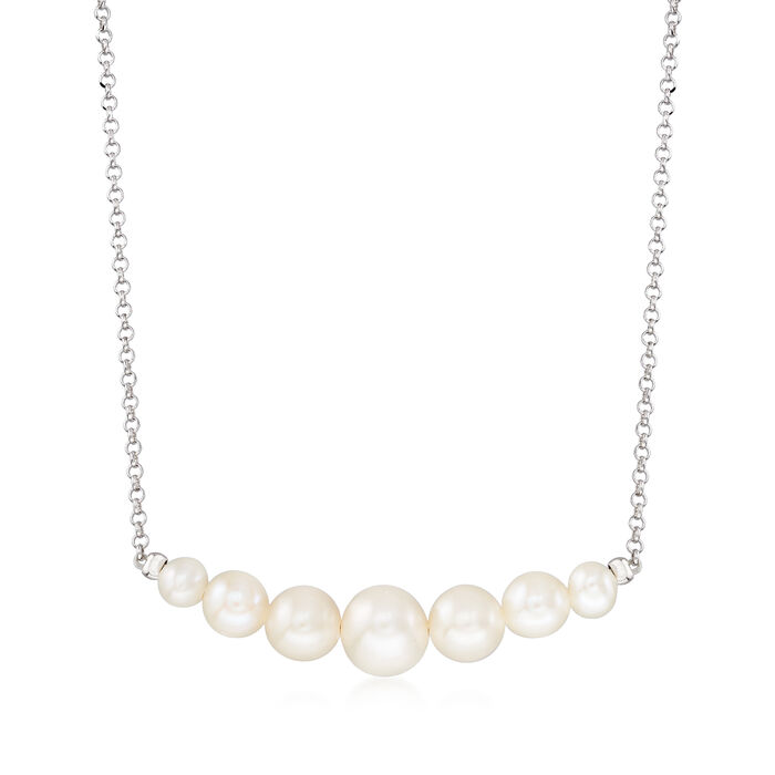 4-8mm Graduated Cultured Pearl Necklace in Sterling Silver, , default