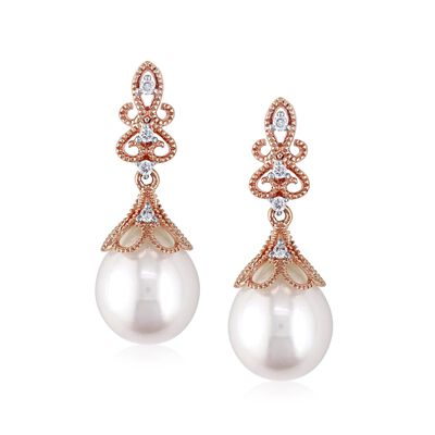 9-9.5mm Cultured Pearl Drop Earrings with Diamond Accents in 14kt Rose Gold, , default
