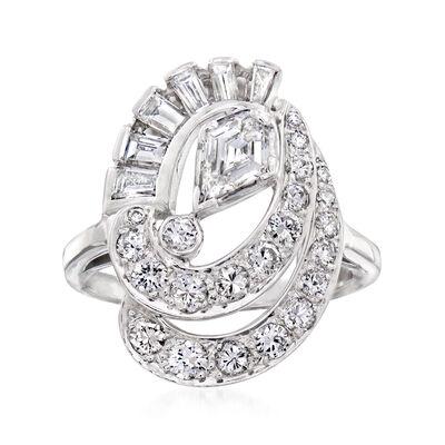 C. 1950 Vintage 1.75 ct. t.w. Diamond Swirl Cocktail Ring in Platinum