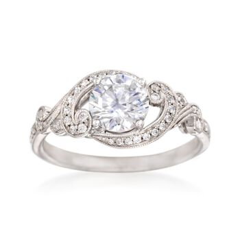 Simon G. .21 ct. t.w. Diamond Scrolling Engagement Ring Setting in 18kt White Gold, , default
