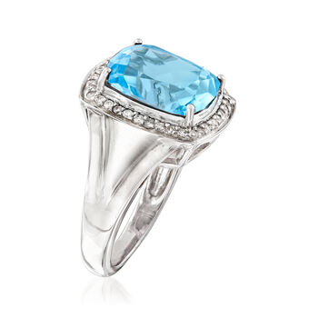 4.70 Carat Sky Blue Topaz and .24 ct. t.w. Diamond Ring in Sterling Silver, , default