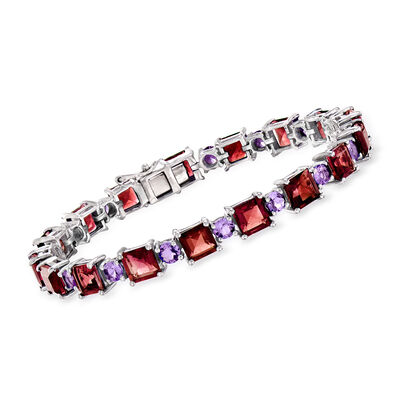 20.00 ct. t.w. Garnet and 3.80 Amethyst Tennis Bracelet in Sterling Silver, , default