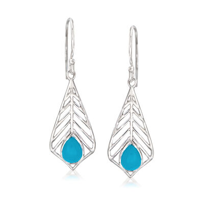 Stabilized Turquoise Leaf Drop Earrings in Sterling Silver, , default