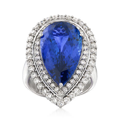 14.00 Carat Blue Tanzanite and 1.59 ct. t.w. Diamond Ring in 18kt White Gold
