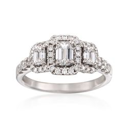 1.42 ct. t.w. Emerald-Cut Diamond Three-Stone Halo Ring in 14kt White Gold, , default