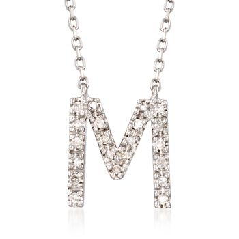 Diamond Accent Initial Necklace in Sterling Silver, , default