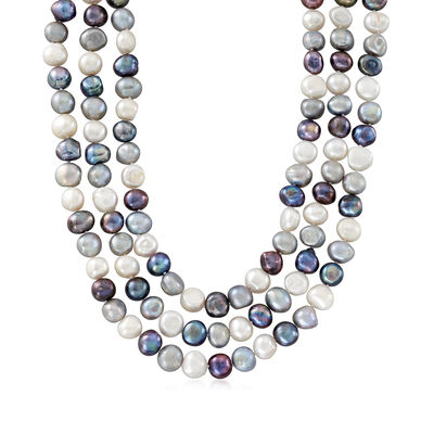10-11mm Multicolored Cultured Baroque Pearl Three-Strand Endless Necklace