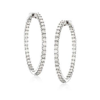 """5.00 ct. t.w. Diamond Inside-Outside Hoop Earrings in 14kt White Gold. 1 1/2"""""""