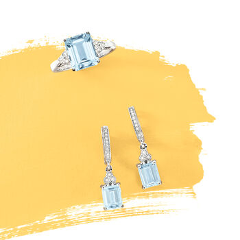 1.90 ct. t.w. Aquamarine and .17 ct. t.w. Diamond Drop Earrings in 14kt White Gold, , default