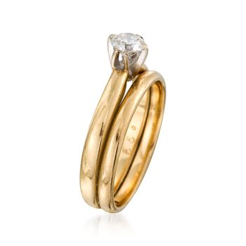 C. 1980 Vintage .35 Carat Diamond Bridal Set: Engagement and Wedding Rings in 10kt and 14kt Yellow Gold. Size 5.5, , default