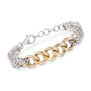 "Italian Two-Tone Sterling Silver Curb-Link Bracelet. 7"", , default"