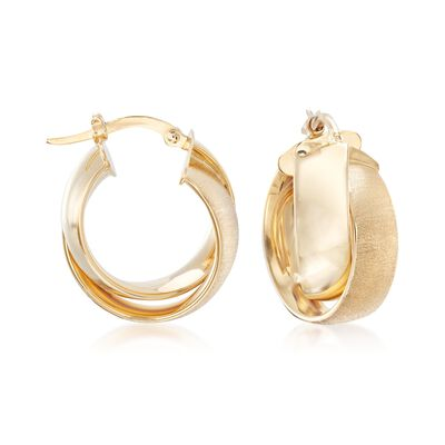 Italian 14kt Yellow Gold Textured and Polished Crisscross Hoop Earrings, , default