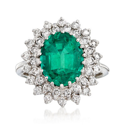 4.65 Carat Emerald and 1.15 ct. t.w. Diamond Ring in 14kt White Gold, , default