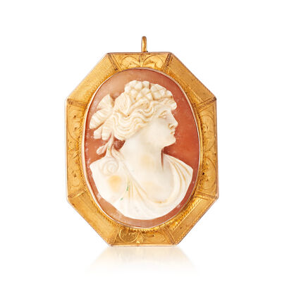 C. 1950 Vintage Oval Shell Cameo Pin Pendant in 10kt Yellow Gold, , default