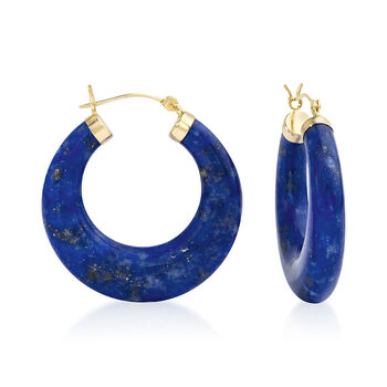 "Lapis Hoop Earrings 14kt Yellow Gold. 1 1/8"", , default"