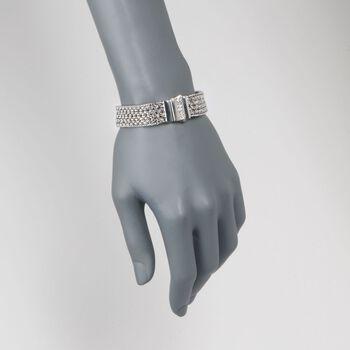"""Phillip Gavriel """"Woven"""" .30 ct. t.w. White Sapphire Basketweave Bracelet in Sterling Silver. 7.25"""""""