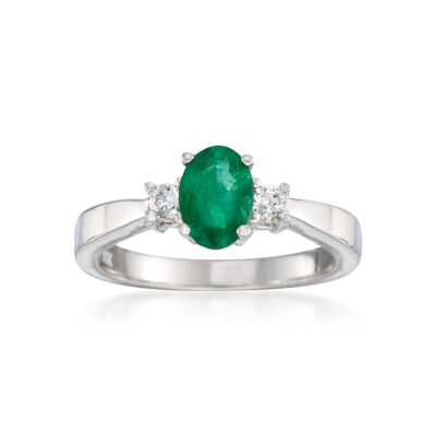 .40 Carat Emerald and .15 ct. t.w. Diamond Ring in 14kt White Gold, , default