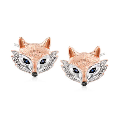 Earrings. Image Featuring Sapphire and .10 ct. t.w. Diamond Fox Stud Earrings in Two-Tone Sterling Silver # 833922