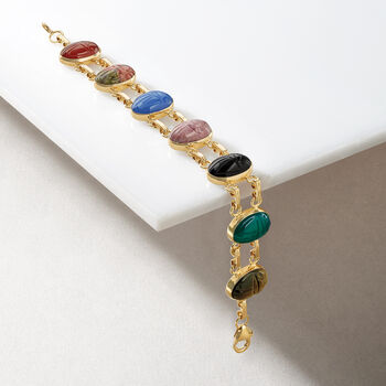 Multi-Stone Scarab Bracelet in 14kt Yellow Gold, , default