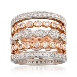 2.60 ct. t.w. CZ Jewelry Set: Five Eternity Bands in Two-Tone Sterling Silver, , default