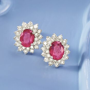 3.30 ct. t.w. Ruby and 1.40 ct. t.w. Diamond Earrings in 18kt White Gold , , default