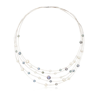C. 1980 Vintage 4-6.5mm Multicolored Cultured Pearl Multi-Strand Necklace in 18kt White Gold, , default