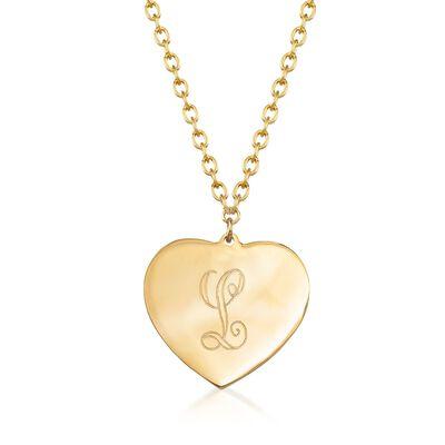 14kt Yellow Gold Single Initial Heart Choker Necklace, , default