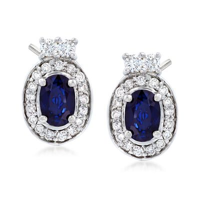 1.20 ct. t.w. Oval Sapphire and .40 ct. t.w. Diamond Halo Earrings in 14kt White Gold, , default