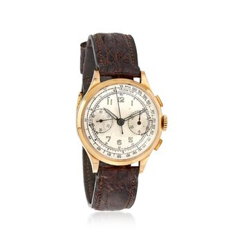 C. 1930 Vintage Men's 35mm Manual Chronograph 18kt Yellow Gold Watch With Crocodile Leather. Size 8, , default