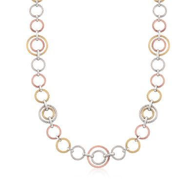 "ALOR ""Noir"" Tri-Colored Cable-Link Necklace with 18kt Yellow Gold, , default"