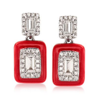 .34 ct. t.w. Diamond Drop Earrings with Red Enamel in 18kt White Gold, , default