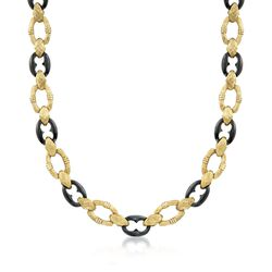 "C. 1990 Vintage Black Onyx and 14kt Yellow Gold Link Necklace. 25.5"", , default"