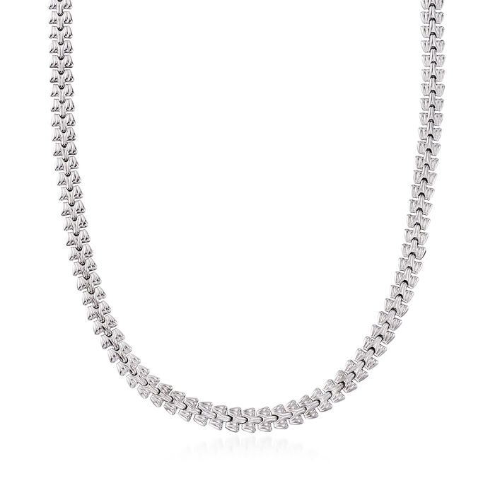 Italian Sterling Silver Stampato Link Necklace