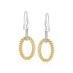 "Charles Garnier ""Ravello"" .14 ct. t.w. CZ Oval Drop Earrings in Two-Tone Sterling Silver, , default"