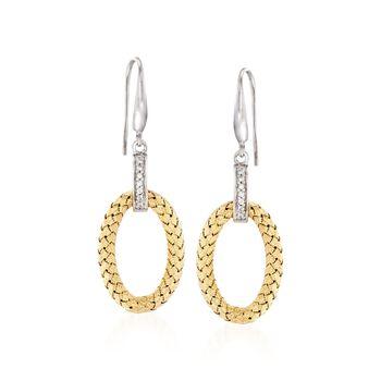 "Charles Garnier ""Ravello"" .14 ct. t.w. CZ Oval Drop Earrings in Two-Tone Sterling Silver, , default"