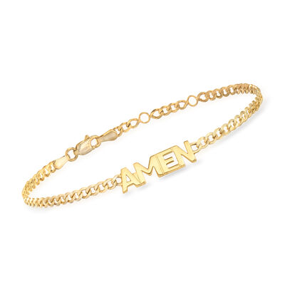 """Amen"" Link Bracelet in 14kt Yellow Gold, , default"