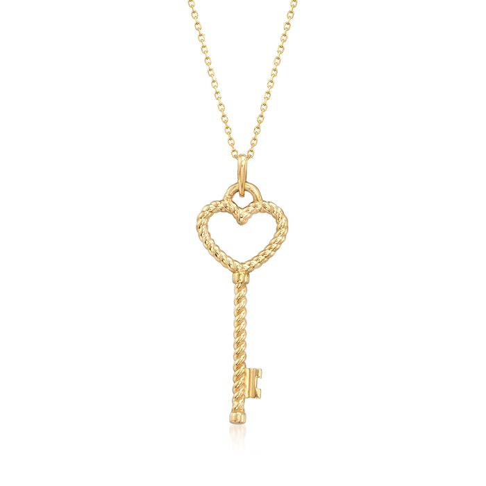 18kt Yellow Gold Twisted Open-Space Heart Key Pendant Necklace, , default